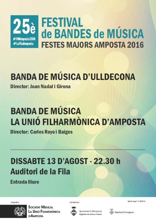 Societat Musical La Unió Filharmònica d´Amposta > Arxiu de notícies > 25è FESTIVAL DE BANDES DE MÚSICA