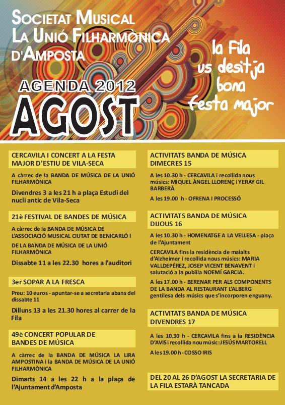 Societat Musical La Unió Filharmònica d´Amposta > Arxiu de notícies > AGENDA D´ACTIVITATS AGOST 2012