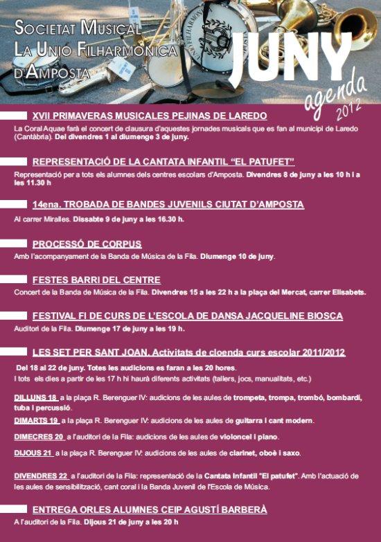 Societat Musical La Unió Filharmònica d´Amposta > Arxiu de notícies > Agenda d´activitats JUNY 2012