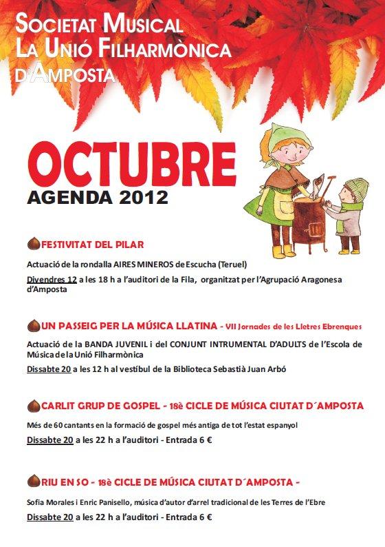 Societat Musical La Unió Filharmònica d´Amposta > Arxiu de notícies > AGENDA D´ACTIVITATS OCTUBRE 2012