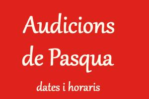 AUDICIONS DE PASQUA DE L´ESCOLA DE MÚSICA DE LA UNIÓ FILHARMÒNICA D´AMPOSTA