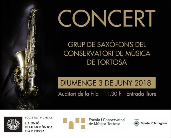 Societat Musical La Unió Filharmònica d´Amposta > Notícies > Concert del Grup de Saxòfons del Conservatori de Música de Tortosa