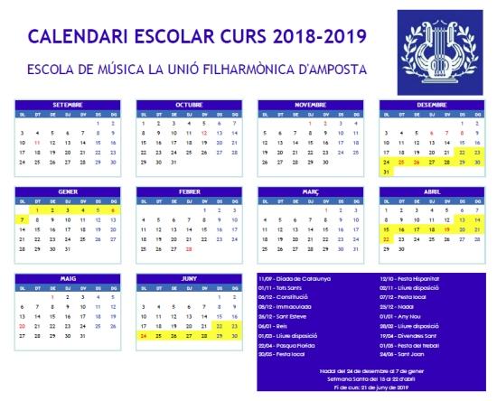 Societat Musical La Unió Filharmònica d´Amposta > Notícies > Calendari escolar 2018-2019