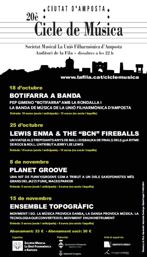 Societat Musical La Unió Filharmònica d´Amposta > Arxiu de notícies > 20è CICLE DE MÚSICA CIUTAT D´AMPOSTA