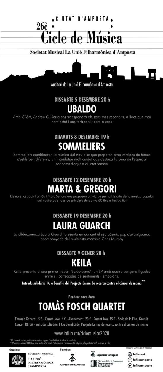 Societat Musical La Unió Filharmònica d´Amposta > Notícies > Els concerts del 26è Cicle de Música Ciutat d´Amposta ja tenen noves dates