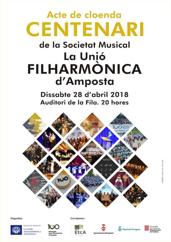 Societat Musical La Unió Filharmònica d´Amposta > Notícies > Acte de cloenda Centenari de la Fila