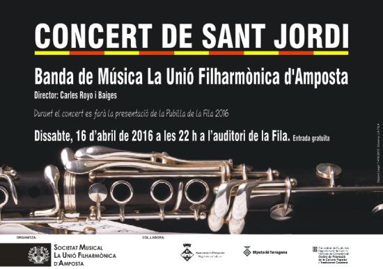 Societat Musical La Unió Filharmònica d´Amposta > Arxiu de notícies > CONCERT DE SANT JORDI 2016