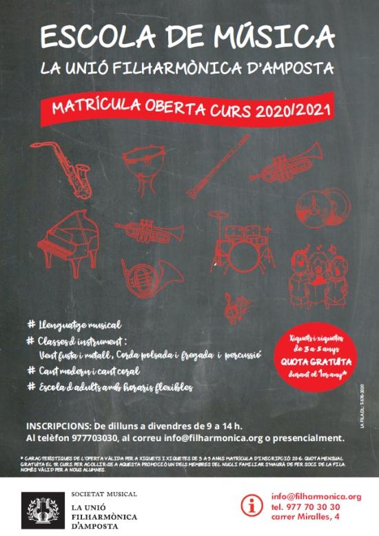 Societat Musical La Unió Filharmònica d´Amposta > Notícies > Inscripcions obertes matrícula curs 2020/21