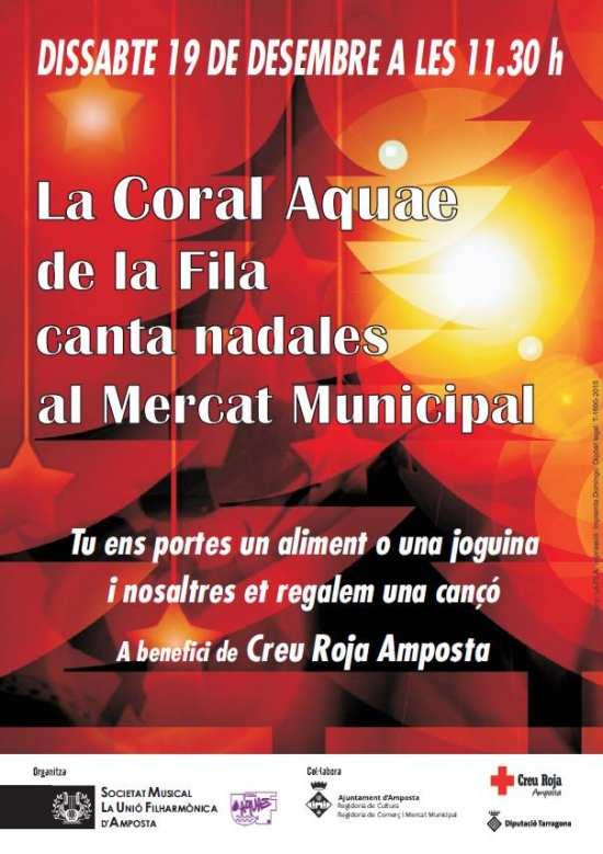 Societat Musical La Unió Filharmònica d´Amposta > Arxiu de notícies > LA CORAL AQUAE DE LA FILA CANTA NADALES AL MERCAT MUNICIPAL