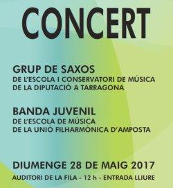 Concert Grup de saxos del Conservatori de la Diputació a Tarragona i Banda de l´Escola de Música de la Fila