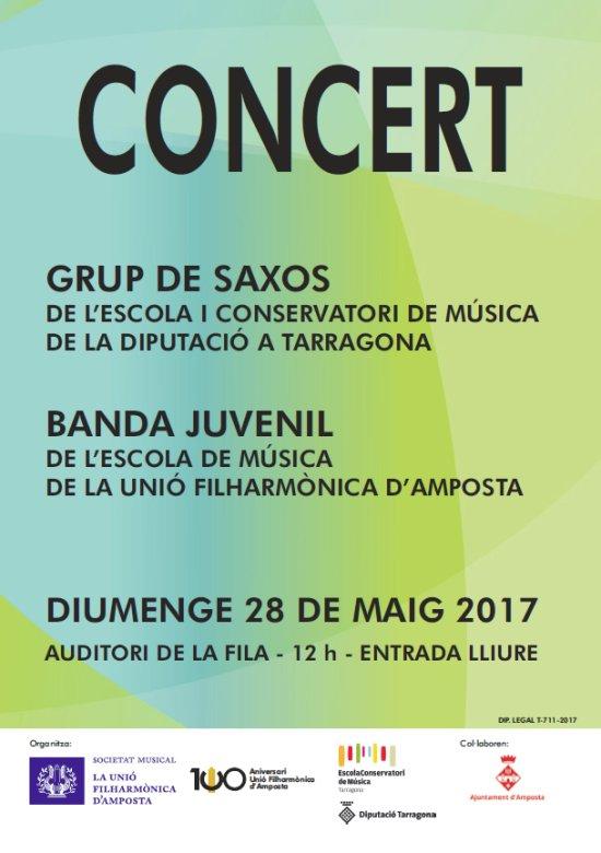 Societat Musical La Unió Filharmònica d´Amposta > Notícies > Concert Grup de saxos del Conservatori de la Diputació a Tarragona i Banda de l´Escola de Música de la Fila