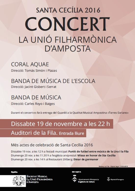 Societat Musical La Unió Filharmònica d´Amposta > Arxiu de notícies > CONCERT SANTA CECÍLIA 2016
