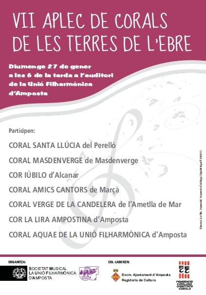 Societat Musical La Unió Filharmònica d´Amposta > Arxiu de notícies > LA CORAL AQUAE DE LA UNIÓ FILHARMÒNICA D'AMPOSTA ORGANITZA EL VII APLEC DE CORALS DE TERRES DE L'EBRE.
