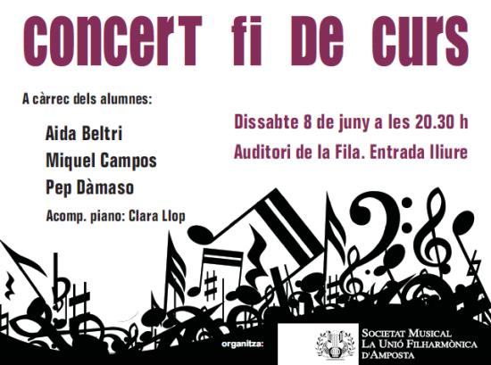 Societat Musical La Unió Filharmònica d´Amposta > Arxiu de notícies > CONCERT FI DE CURS