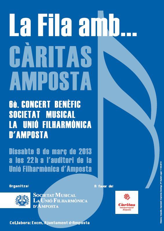 Societat Musical La Unió Filharmònica d´Amposta > Arxiu de notícies > CONCERT LA FILA AMB... CÀRITAS AMPOSTA