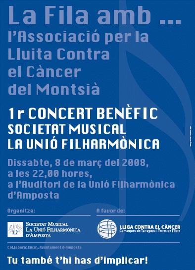 Societat Musical La Unió Filharmònica d´Amposta > Arxiu de notícies > LA FILA AMB ... L´ASSOCIACIÓ PER LA LLUITA CONTRA EL CÀNCER DEL MONTSIÀ. 1ER. CONCERT BENÈFIC DE