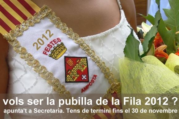Societat Musical La Unió Filharmònica d´Amposta > Arxiu de notícies > VOLS SER LA PUBILLA DE LA FILA 2012 ?