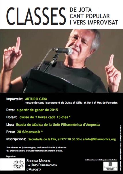 Societat Musical La Unió Filharmònica d´Amposta > Arxiu de notícies > Classes de jota, cant popular i vers improvisat