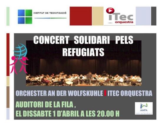 Societat Musical La Unió Filharmònica d´Amposta > Notícies > Concert solidari pels refugiats: Orchester an der Wolfskuhle i ITEC Orquestra