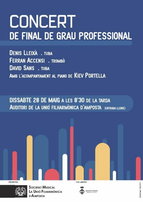 Societat Musical La Unió Filharmònica d´Amposta > Arxiu de notícies > Concert de final de Grau Professional