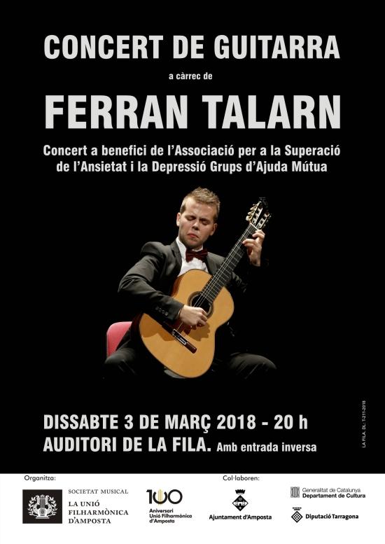 Societat Musical La Unió Filharmònica d´Amposta > Notícies > Concert de guitarra a càrrec de Ferran Talarn