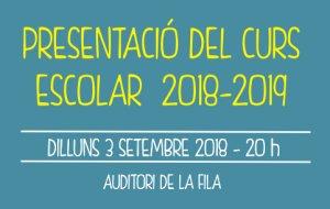 Presentació del curs escolar 2018/2019