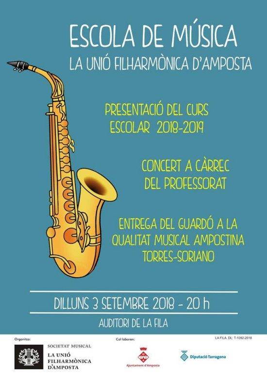 Societat Musical La Unió Filharmònica d´Amposta > Notícies > Presentació del curs escolar 2018/2019