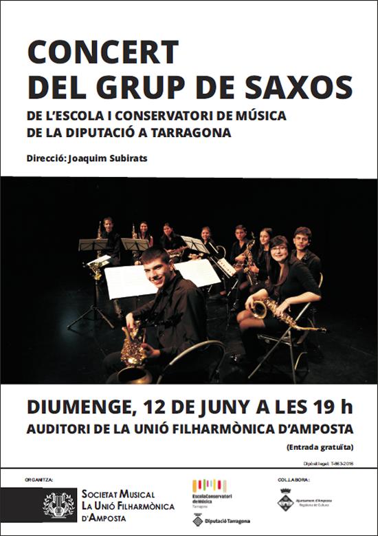Societat Musical La Unió Filharmònica d´Amposta > Arxiu de notícies > Concert del Grup de Saxos de l´Escola i Conservatori de Música de Tarragona