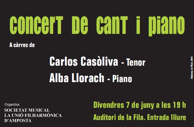 Societat Musical La Unió Filharmònica d´Amposta > Arxiu de notícies > CONCERT DE CANT I PIANO