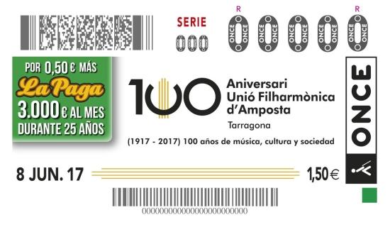 Societat Musical La Unió Filharmònica d´Amposta > Arxiu de notícies > Es presenta el cupó commemoratiu de l´ONCE