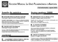 Societat Musical La Unió Filharmònica d´Amposta > Full informatiu > FULL INFORMATIU AGOST 2008