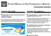 Societat Musical La Unió Filharmònica d´Amposta > Full informatiu > FULL INFORMATIU JULIOL 2008