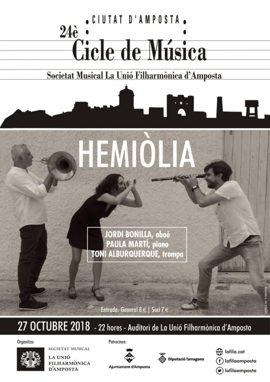 Societat Musical La Unió Filharmònica d´Amposta > Notícies > 24è Cicle de Música Ciutat d´Amposta. Trio HEMIÒLIA