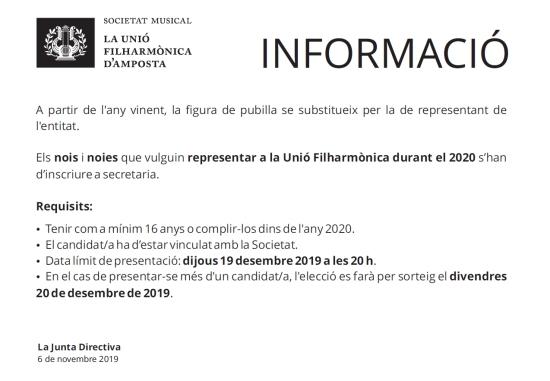 Societat Musical La Unió Filharmònica d´Amposta > Notícies > Vols ser el representant de la Fila durant l´any 2020?