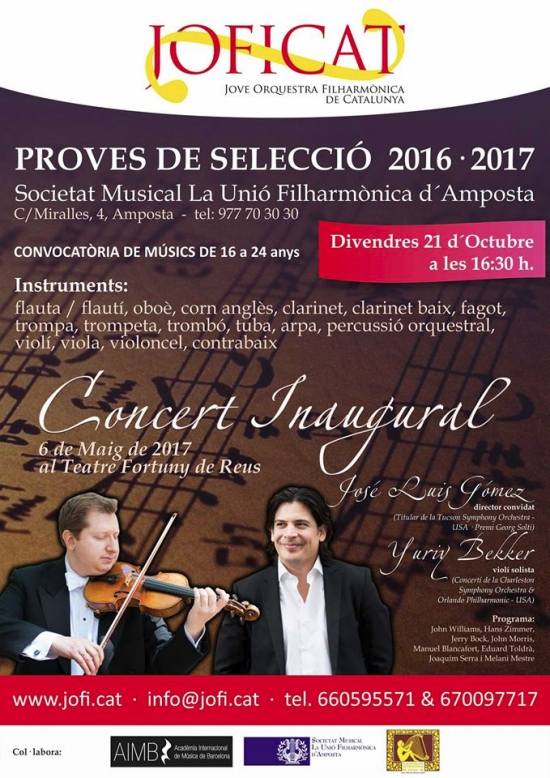 Societat Musical La Unió Filharmònica d´Amposta > Arxiu de notícies > Proves de selecció per a la JOFICAT