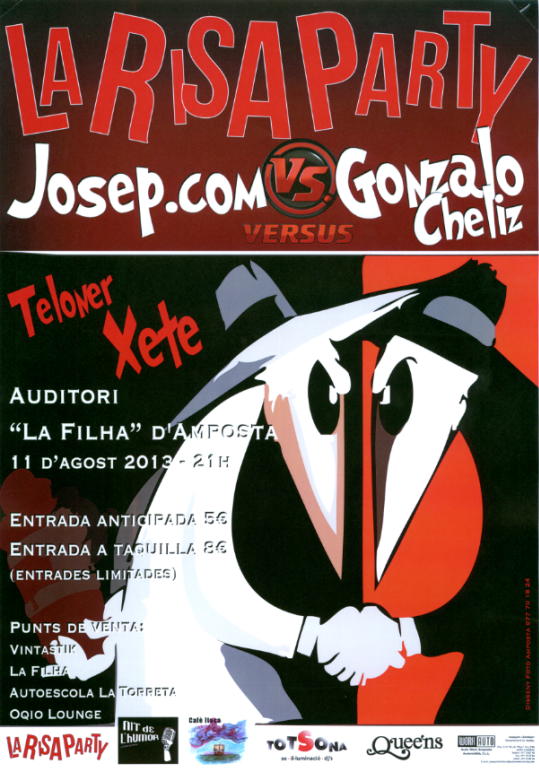 Societat Musical La Unió Filharmònica d´Amposta > Arxiu de notícies > LA RISA PARTY AMB JOSEP.COM I GONZALO CHÉLIZ