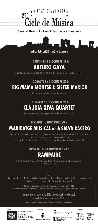Societat Musical La Unió Filharmònica d´Amposta > Notícies > La Fila presenta la programació del Cicle de Música Ciutat d'Amposta