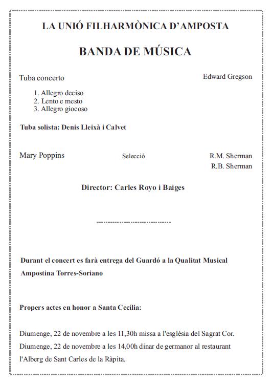 Societat Musical La Unió Filharmònica d´Amposta > Arxiu de notícies > Programa del Concert de Santa Cecília 2015