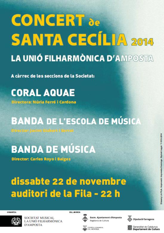 Societat Musical La Unió Filharmònica d´Amposta > Arxiu de notícies > PROGRAMA DE SANTA CECÍLIA 2014